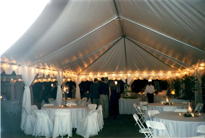 a formal event under a big white tent