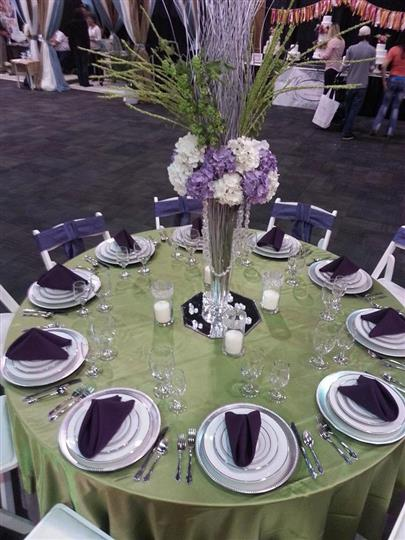 Specialty linens, centerpieces, china, chairs, sashes