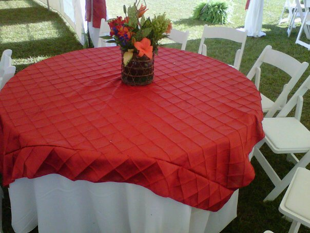 a table with a red tablecloth