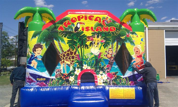 a tropical island bounce house
