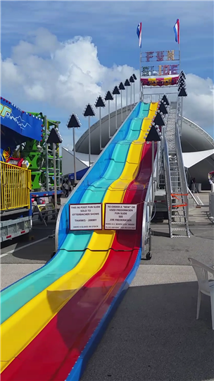 a big rainbow slide