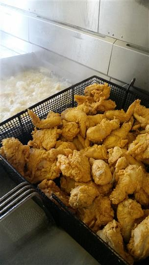 a tray of fried chicken