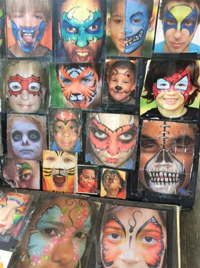 a menu of different face paintings to choose from