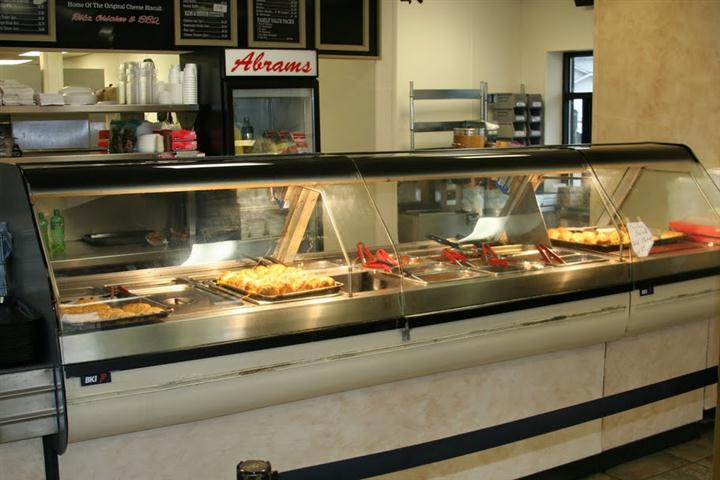 buffet food under heat lamps