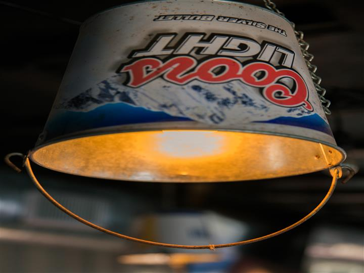 Coors Light bucket chandelier