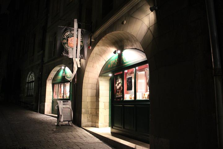 Outdoor shot of the pub at night