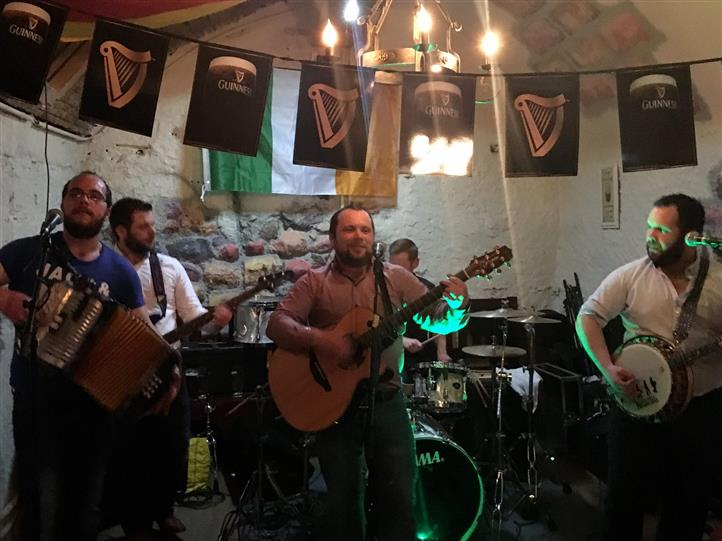 A band playing at the pub