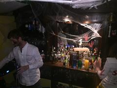 Interior shot of the bar with Halloween decoration