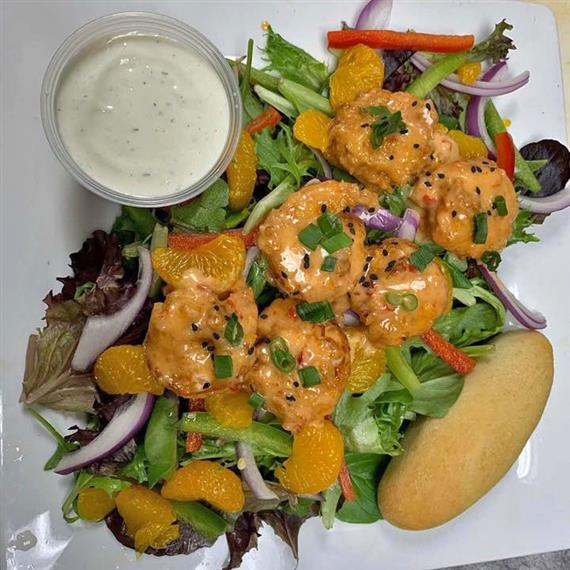 Flashfire Shrimp Salad with ranch dressing on the side