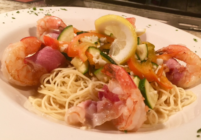 shrimp served over linguine