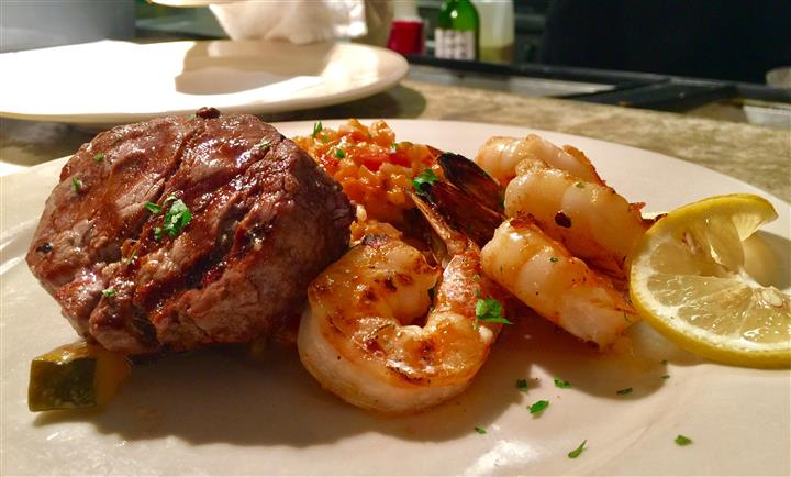 steak and shrimp dish