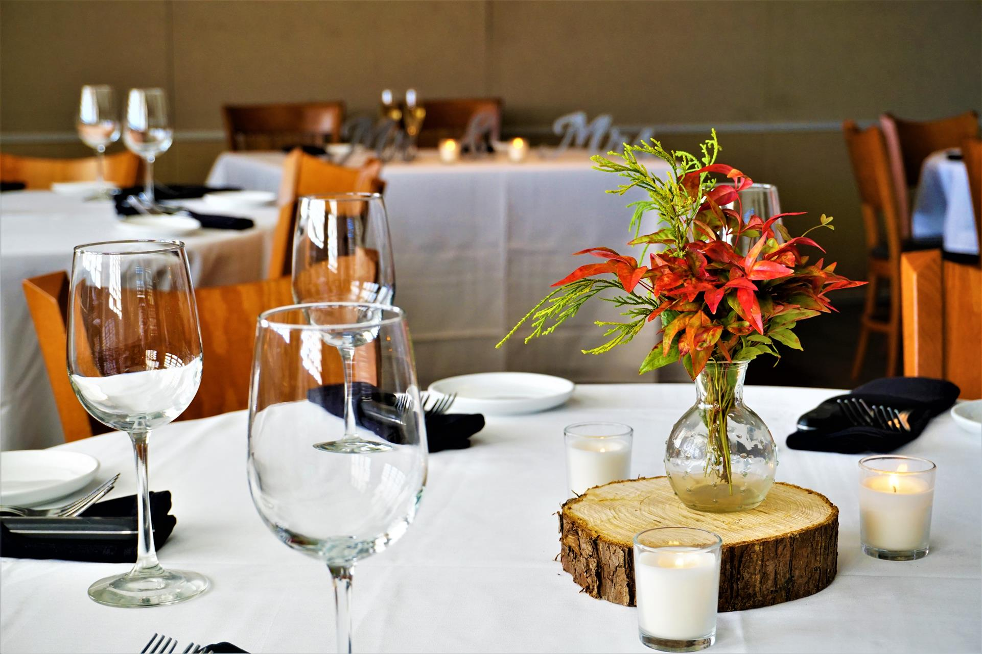 interior of restaurant white table cloths