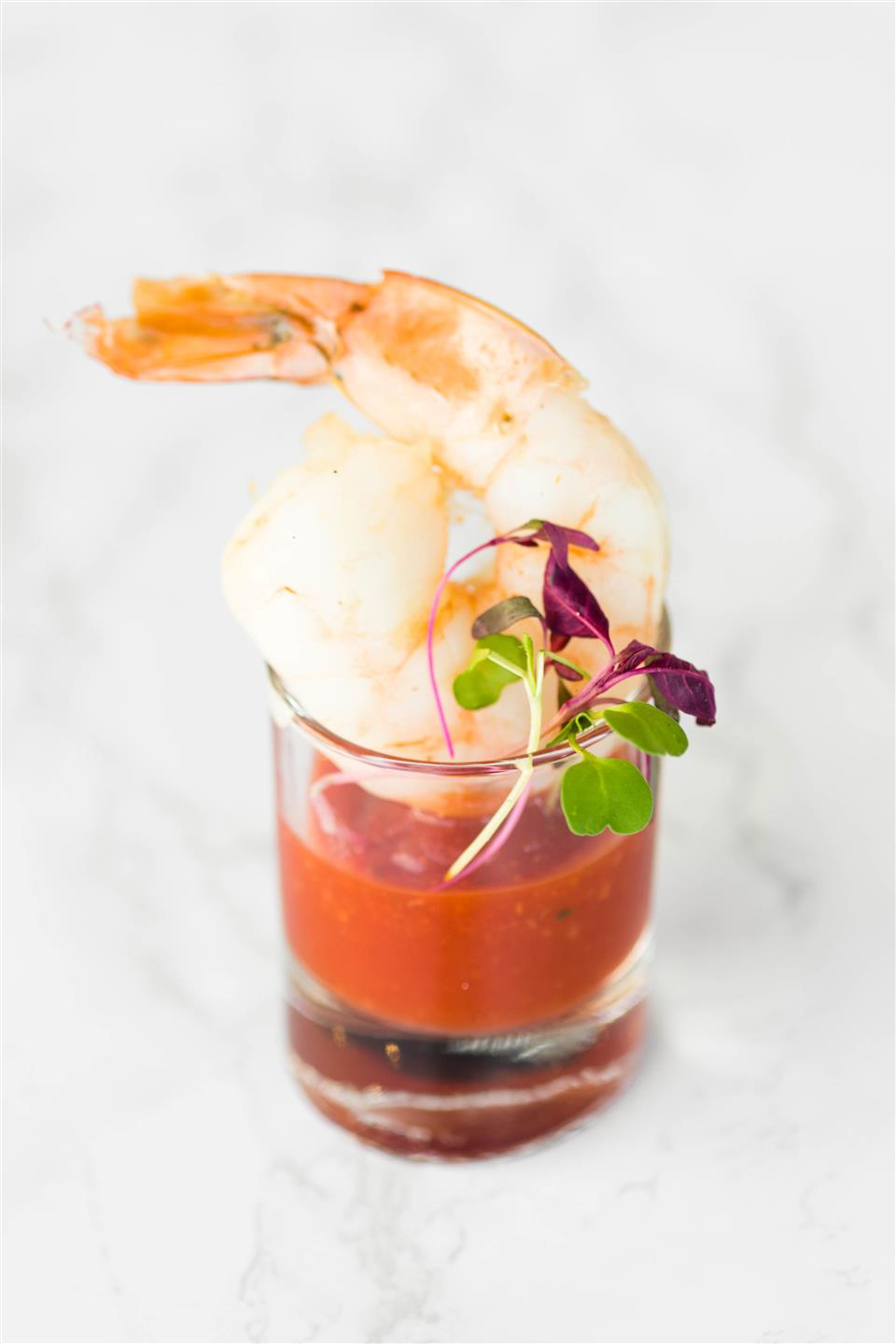 shrimp in a small glass
