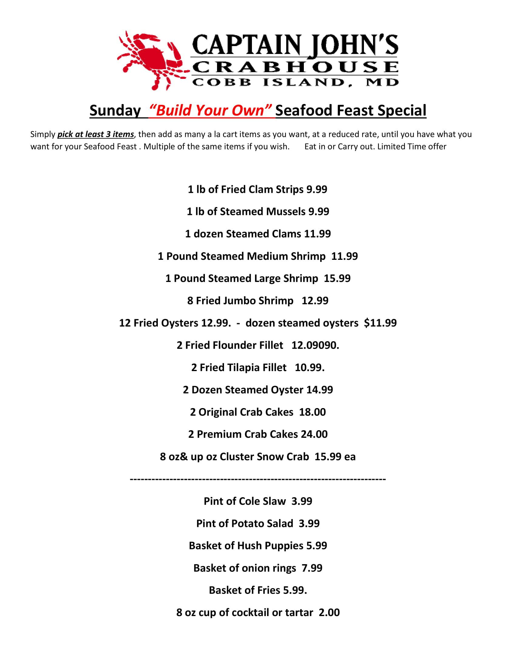 Sunday Build a Feast. click on the button above for a pdf menu