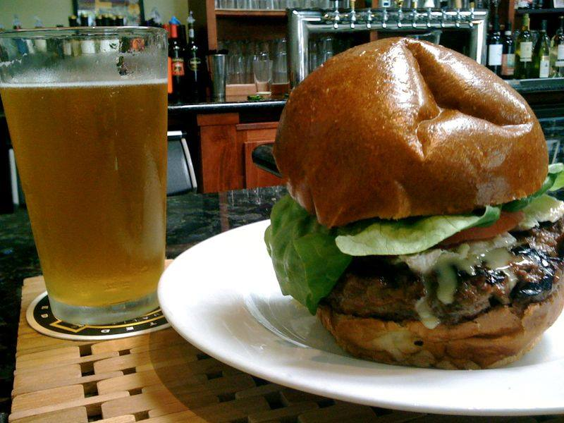 cheeseburger with a beer