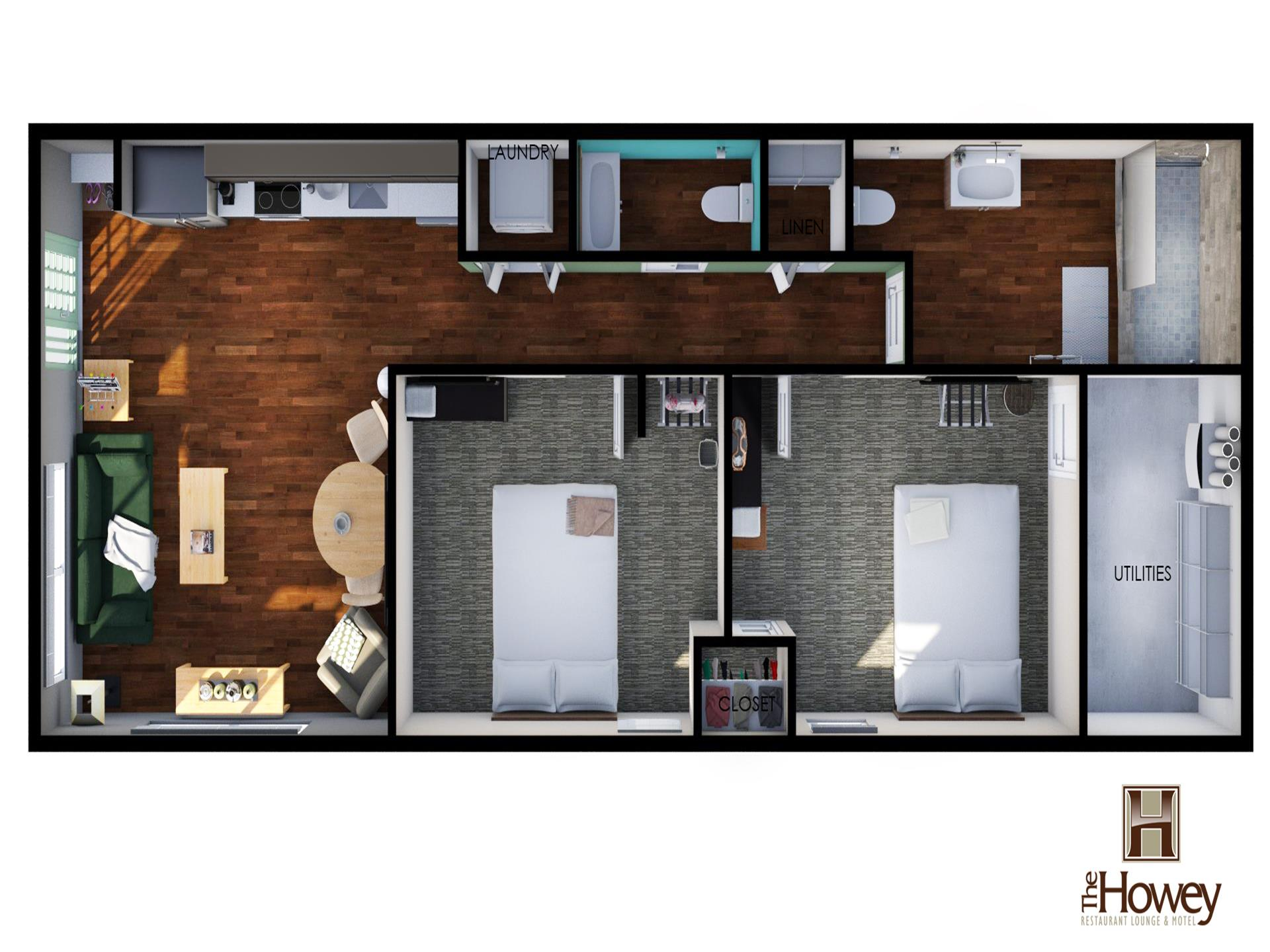 Layout of apartment suite 120