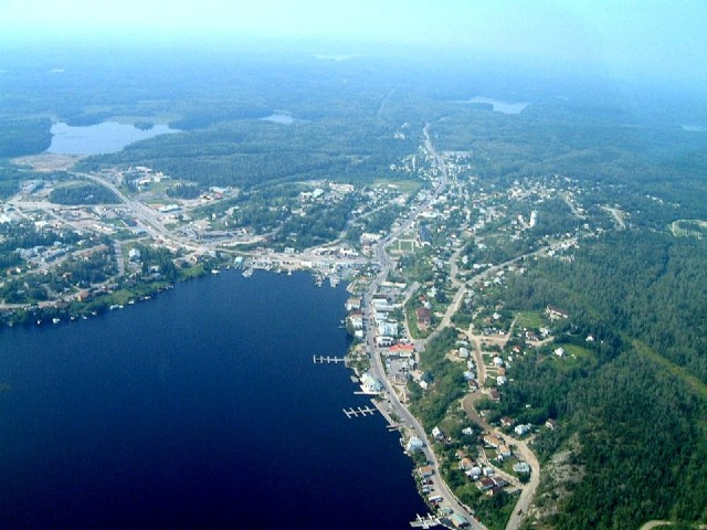 Aerial view of Howey Bay and Red Lake