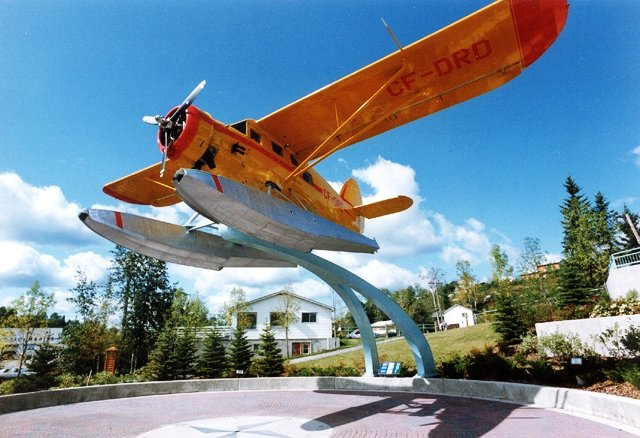Elevated sea plane on display