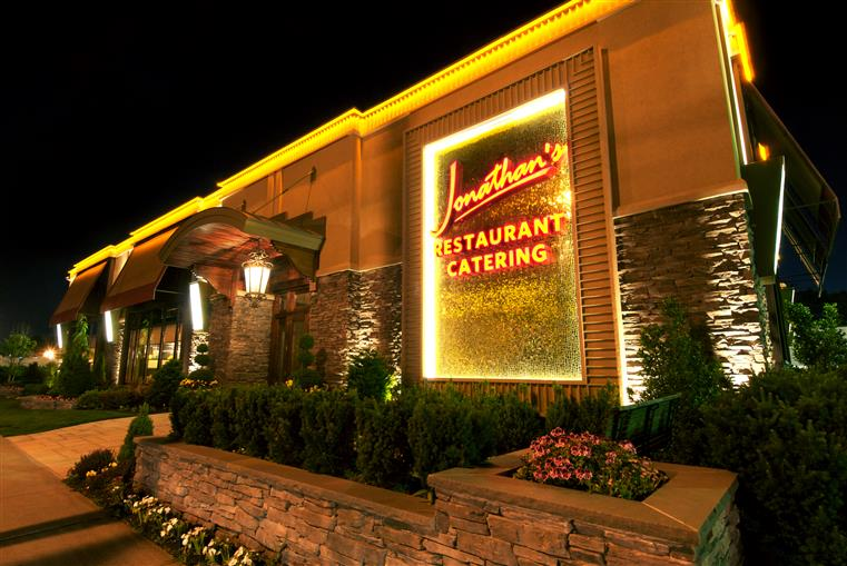 Jonathans Restaurant. Catering. Nighttime view of front of restaurant