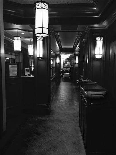 Hallway of the dining area inside of the catering hall
