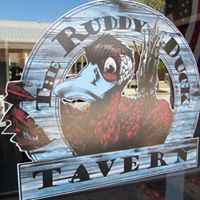 Ruddy Duck Tavern Logo on restaurant window