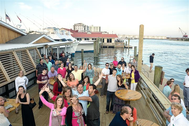 Group photo of people at a dock