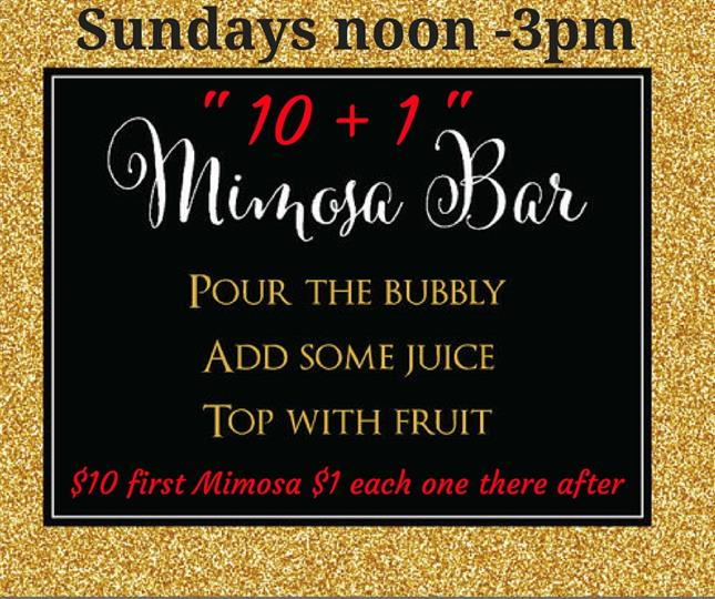 Sundays, noon to 3pm. 10 + 1 mimosa bar. Pour the bubly, add some juice, top with fruit. $10 first mimosas, $1 each one there after