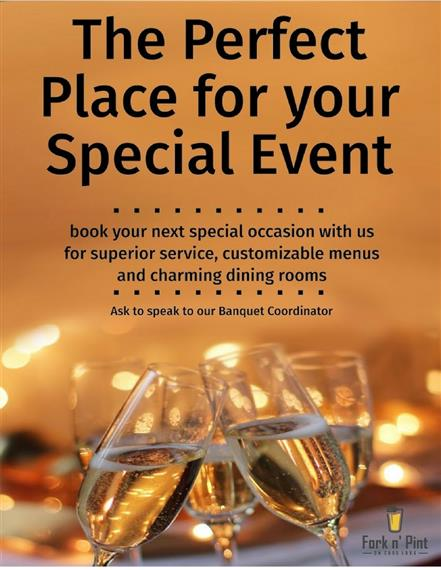The perfect place for your special event. Book your next special occasion with us for superior service, customizable menus and charming dining rooms. Ask to speak to our banquet coordinator.