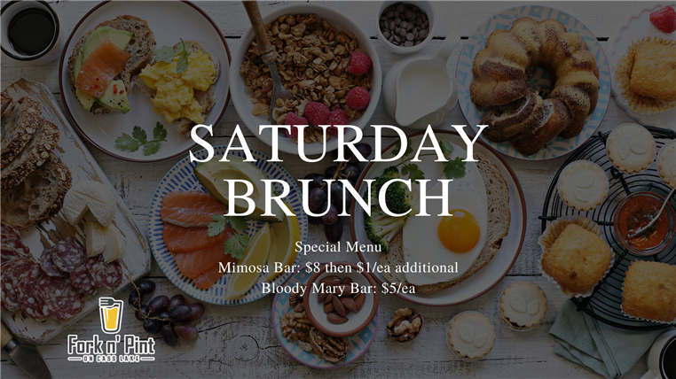 Saturday brunch special menu. Mimosa Bar: $8 then $1 eac additional. Bloody mary Bar: $5 eachs