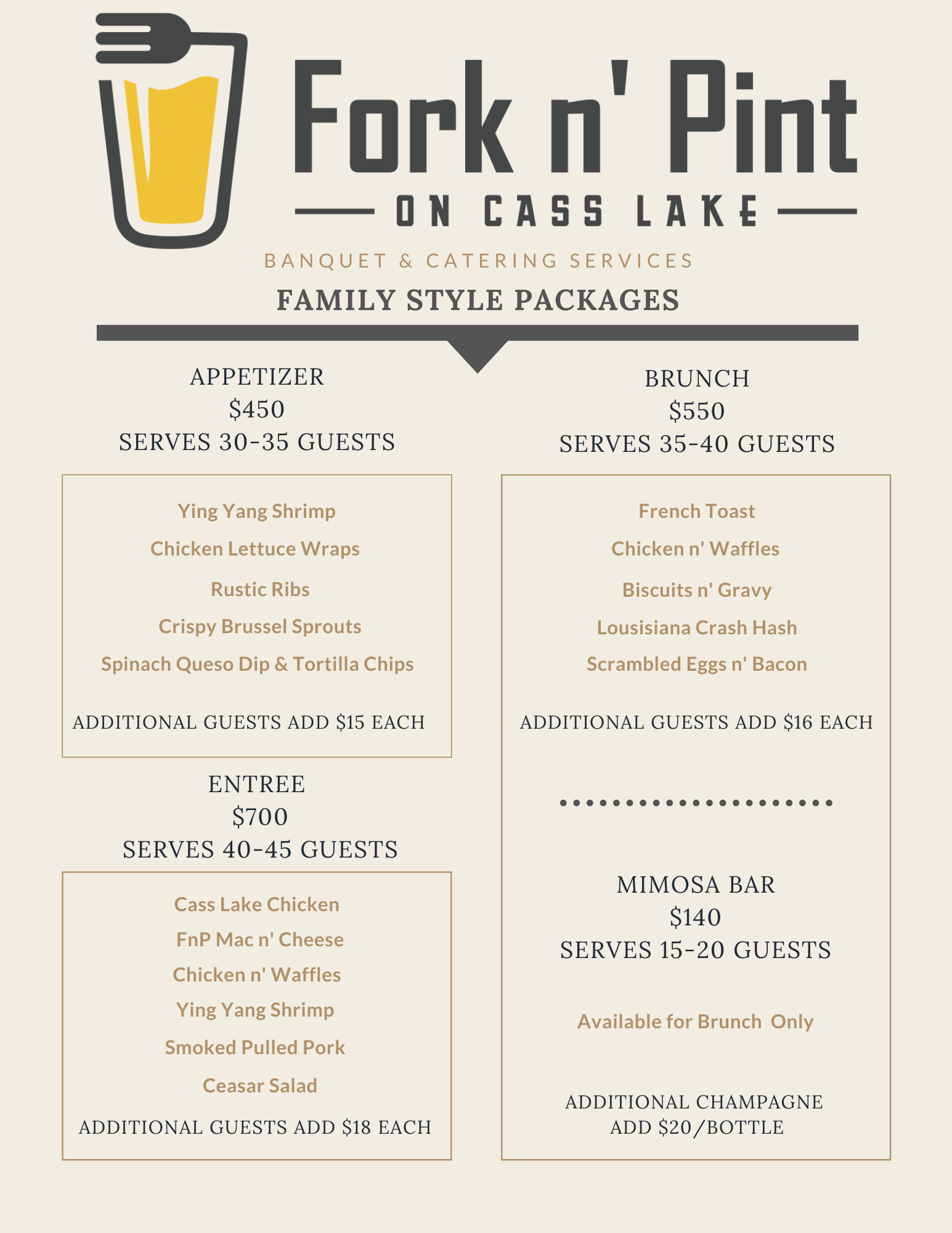 fork n' pint on class lake banquet and catering services family style packages
