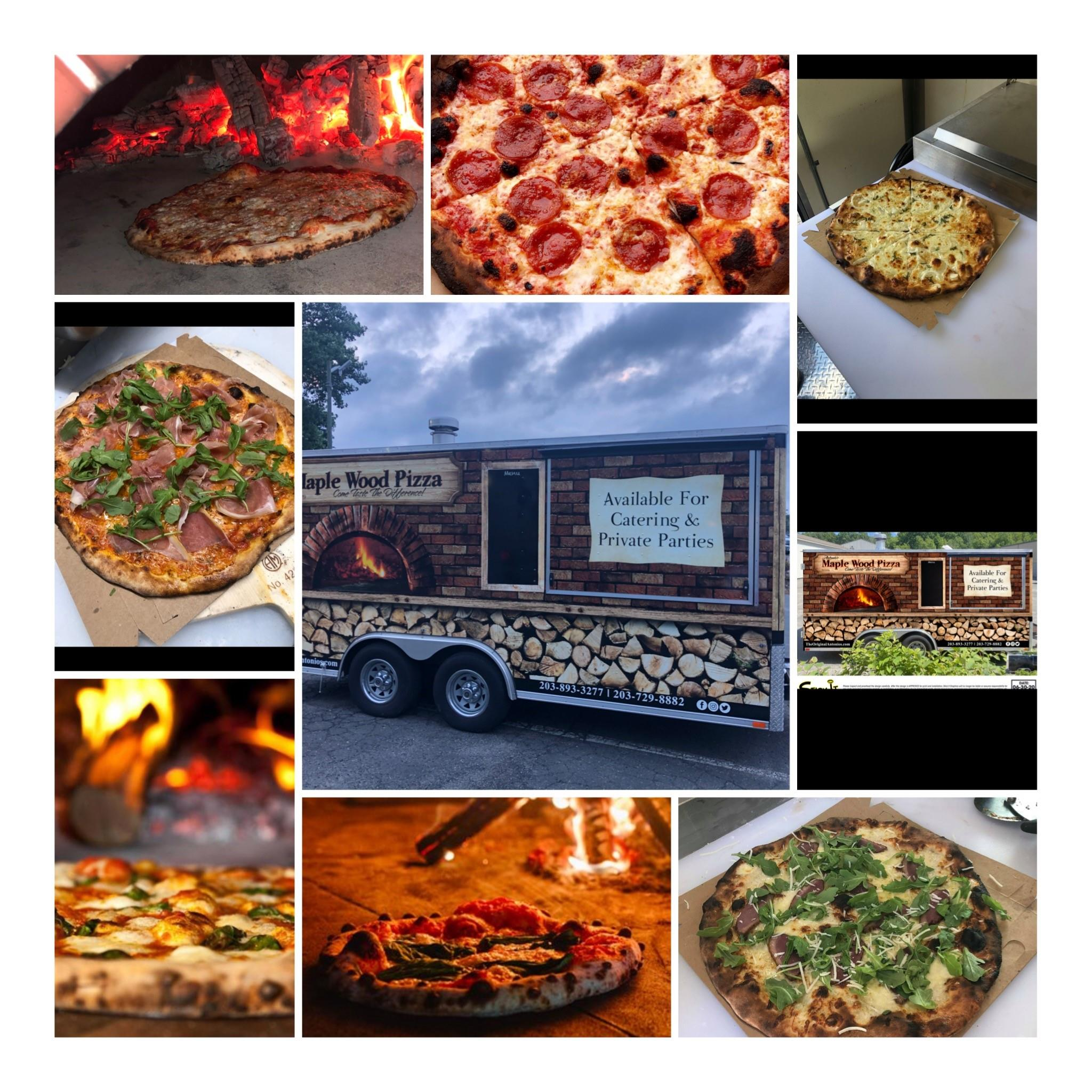 collage of several different photos of pizza, with the pizza truck at the center