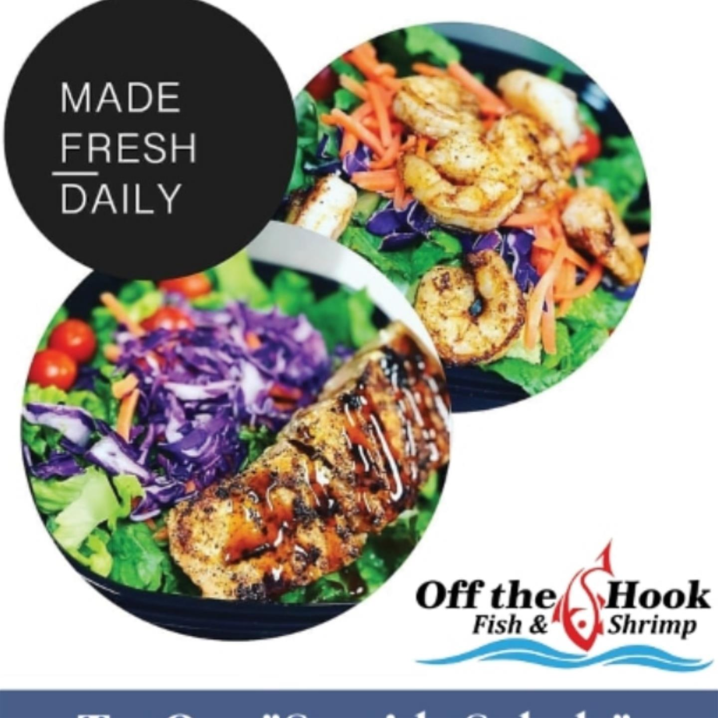 Off the hook made fresh daily with two salads and their logo