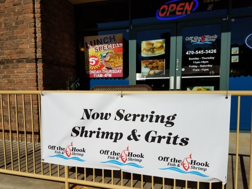 Now Serving Shrimp and Grits Sign