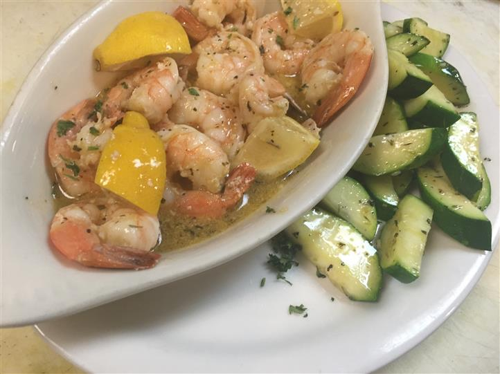 shrimp served in a lemon sauce