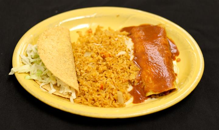Enchilada and taco with a side of rice
