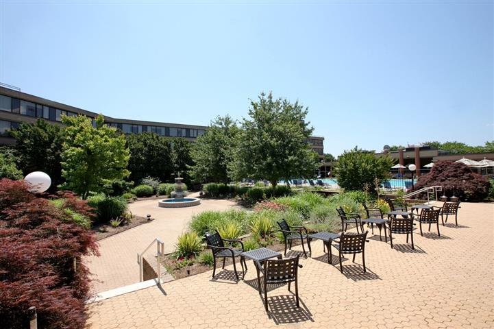 Courtyard with tables and chairs adjacent to swimming pool, hotel in background.