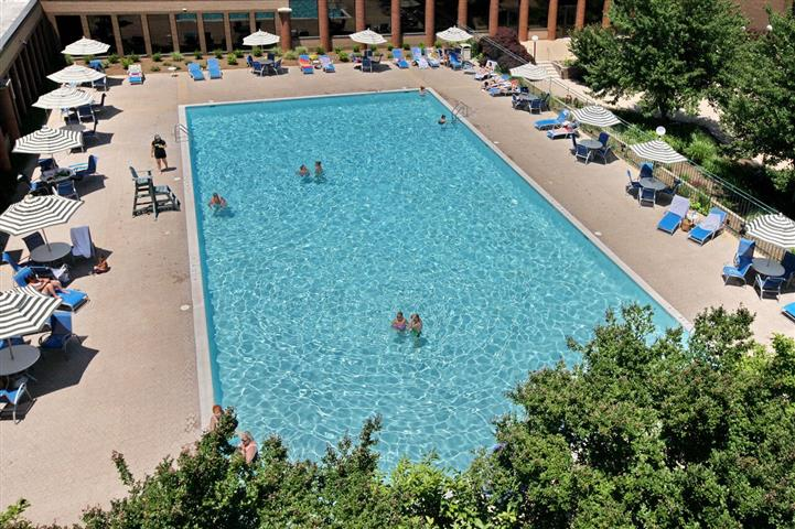 Large outdoor swimming pool with lounge chairs and bathers