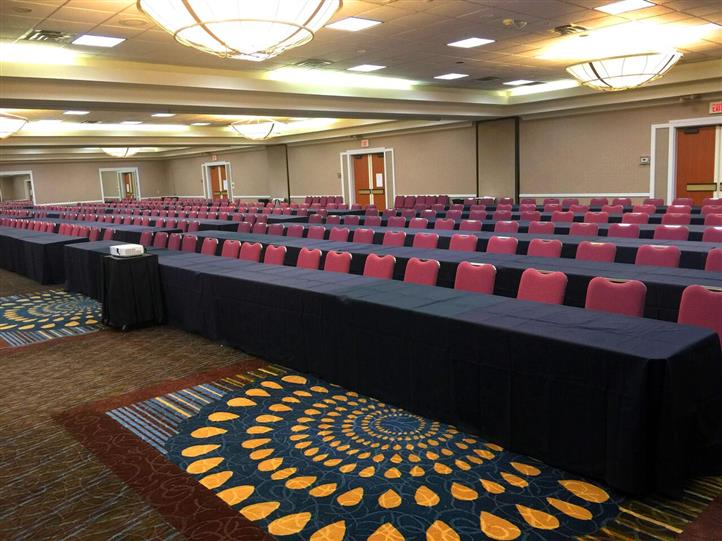 Conference room showing long tables and chairs