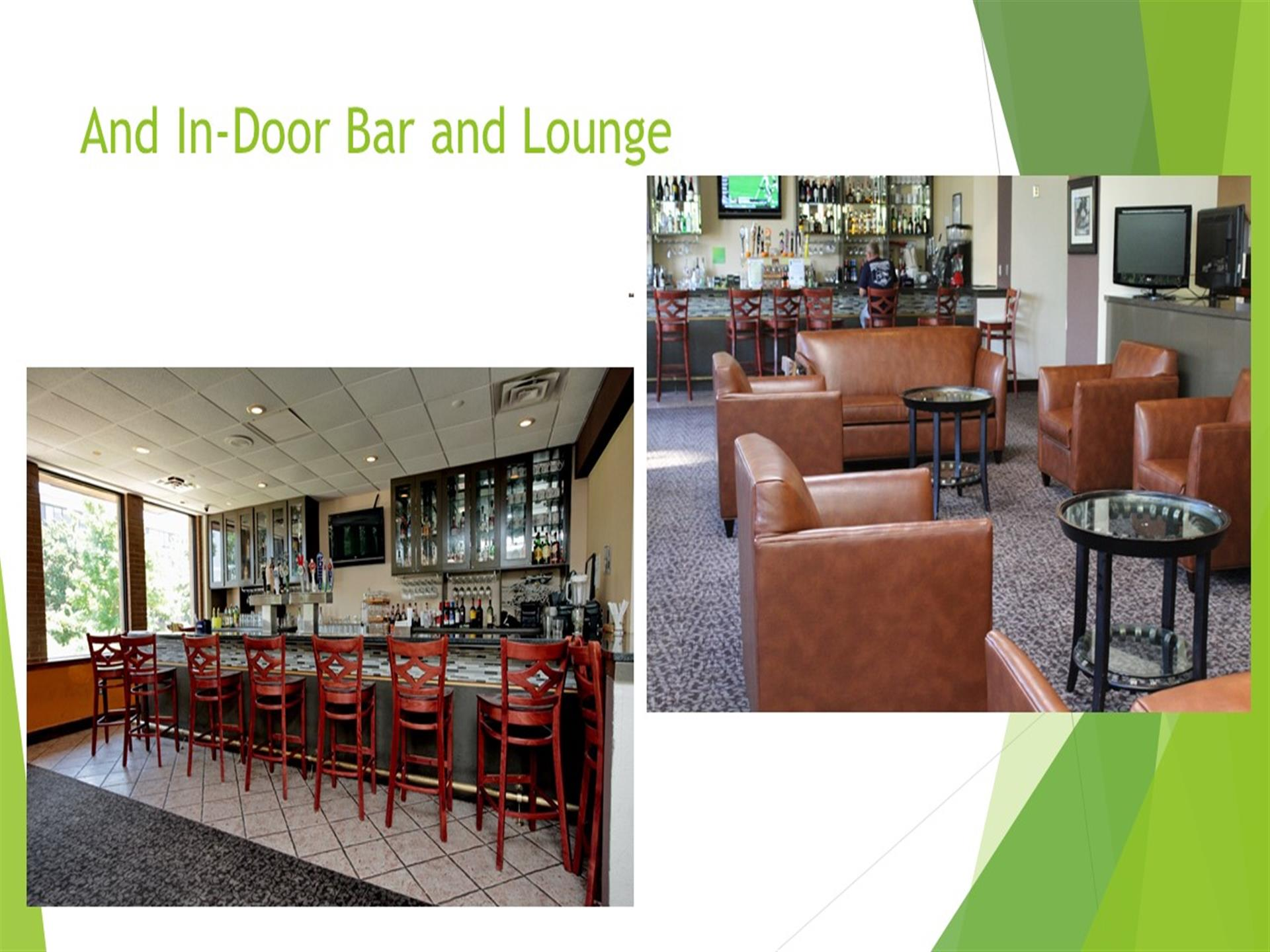 Indoor bar and lounge - bar with red chairs, leather lounge chairs