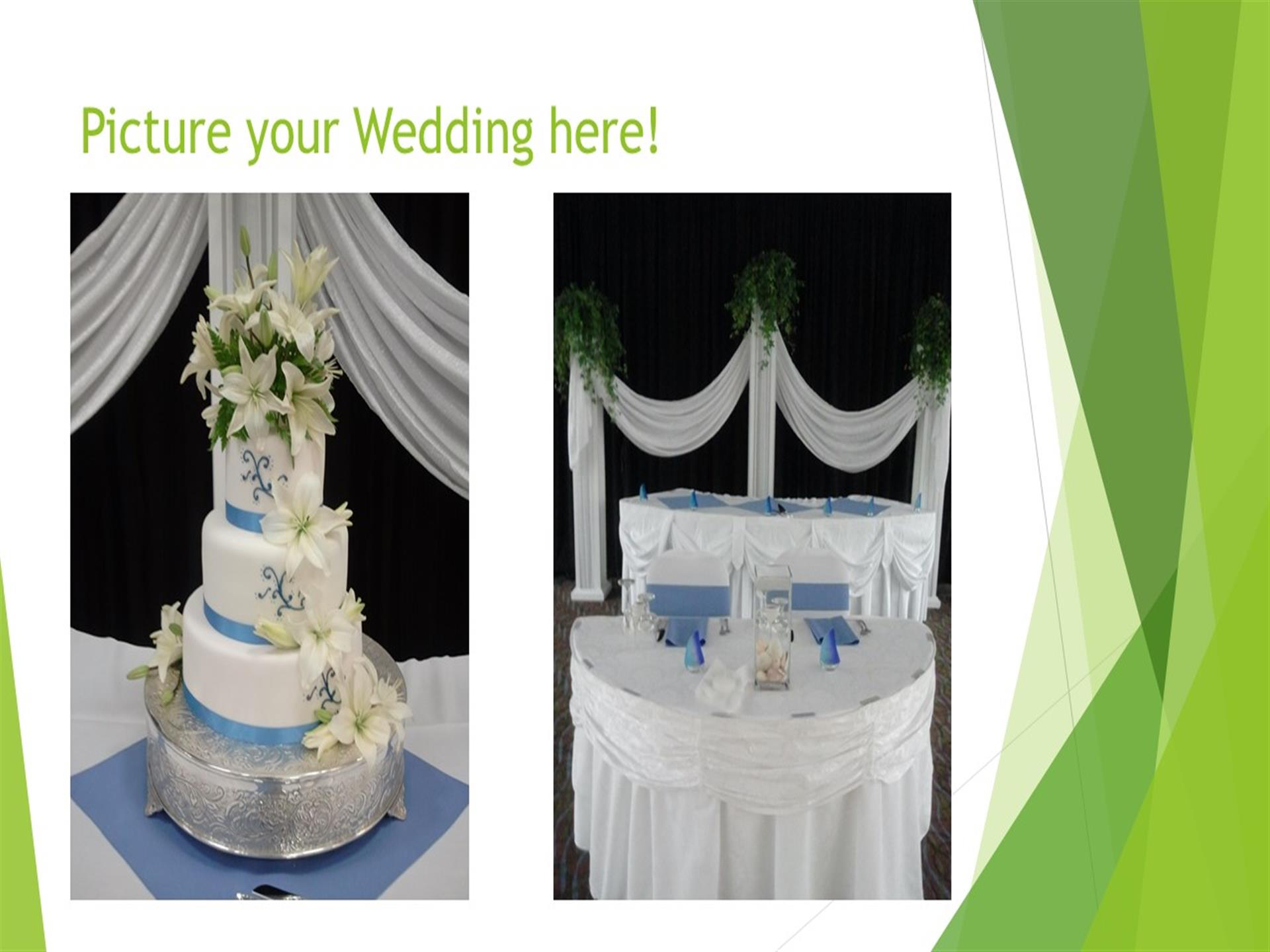 Picture your wedding here - wedding cakes on white table