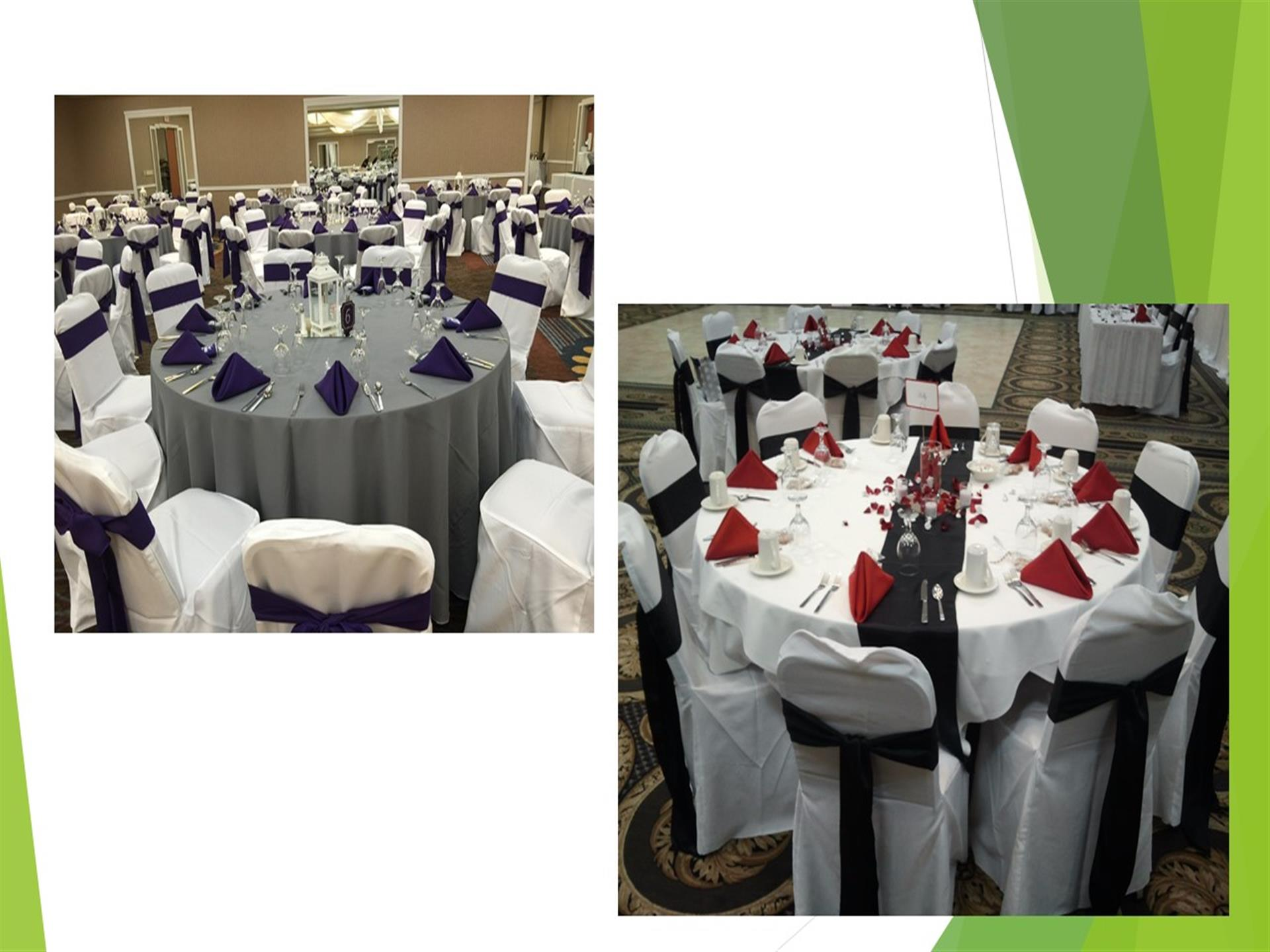 Dining tables in banquet room, gray and white table cloths