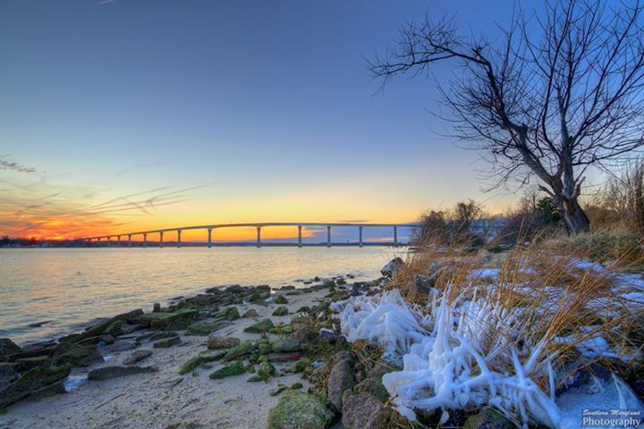 View of governor Thomas Johnson Bridge over the Patuxent River.