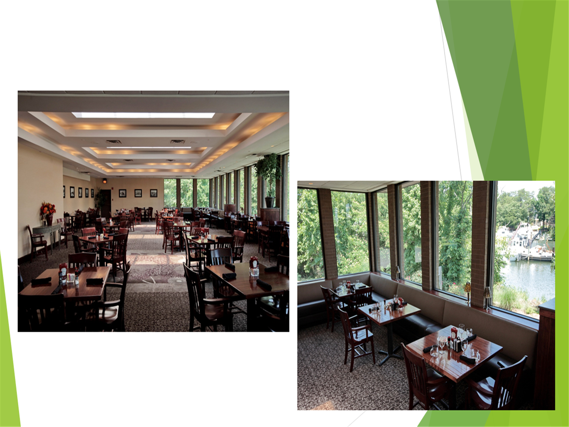 Two images of the dining room at Issac's Restaurant with tables set near windows that show views of the marina