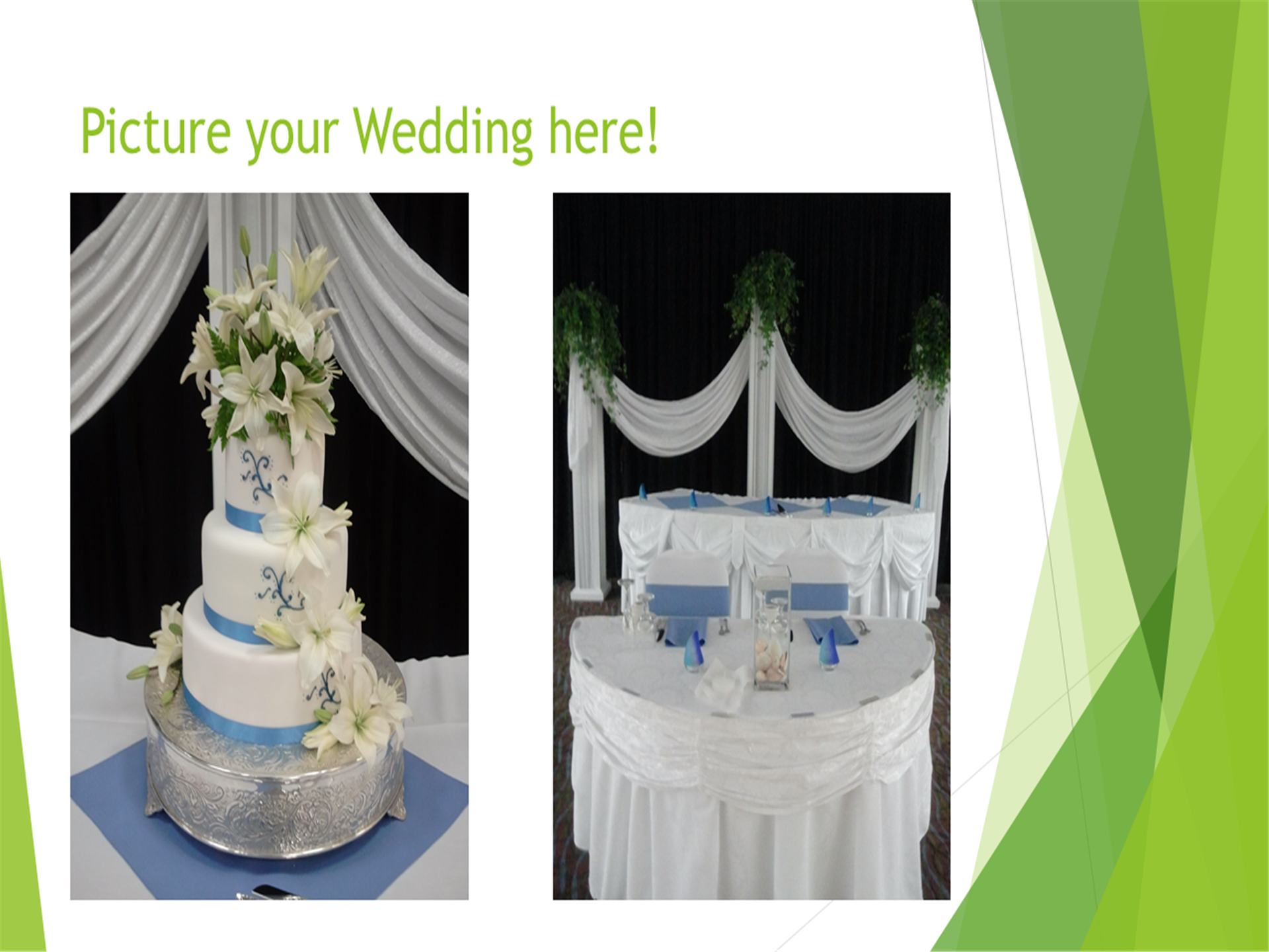 Picture your wedding here! Image of a three layer wedding cake and a bride and grooms reception table.