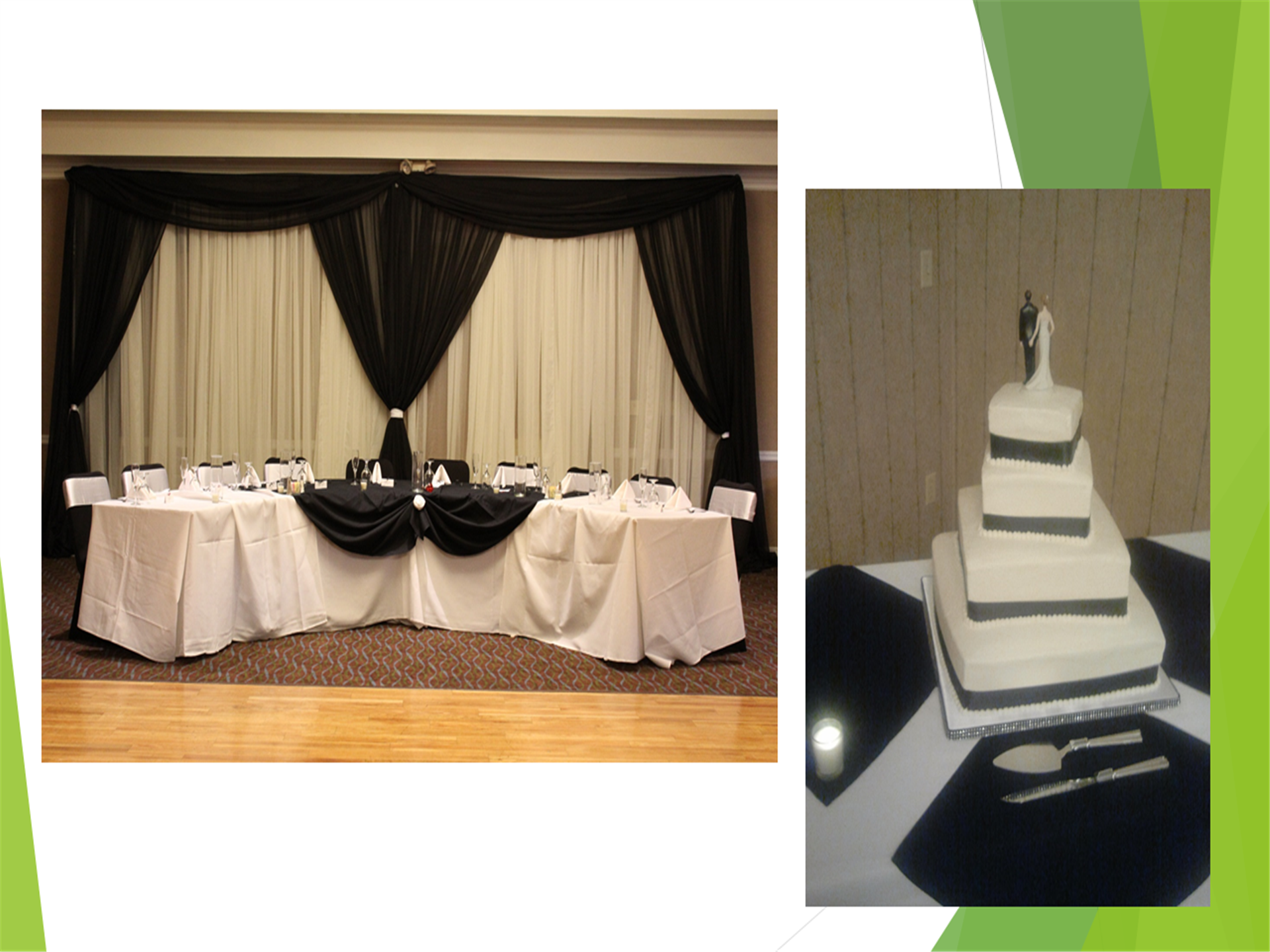 Image of a four layer wedding cake and a bridal party reception table.