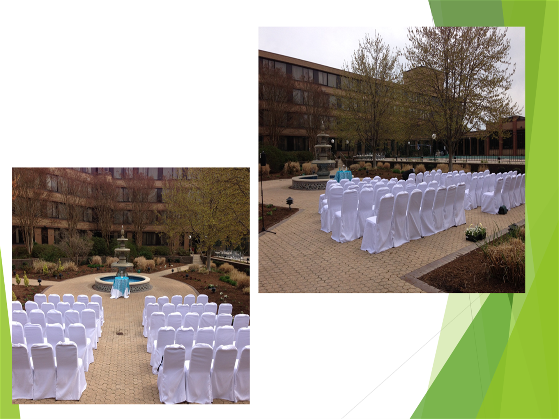 two images of the courtyard area setup for a wedding ceremony