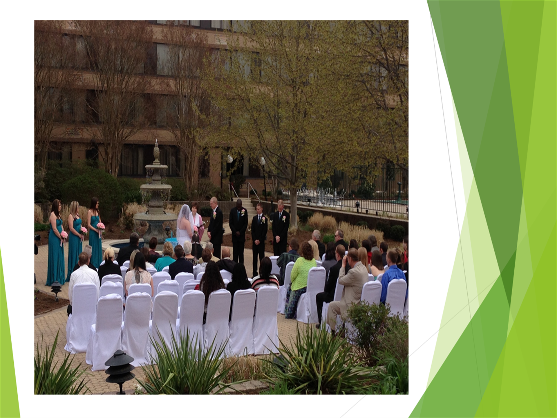 bride and groom making their vows. wedding ceremony in the courtyard area.