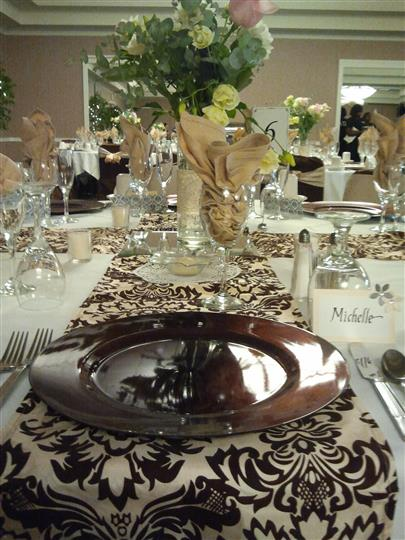 Placesetting on table at event.