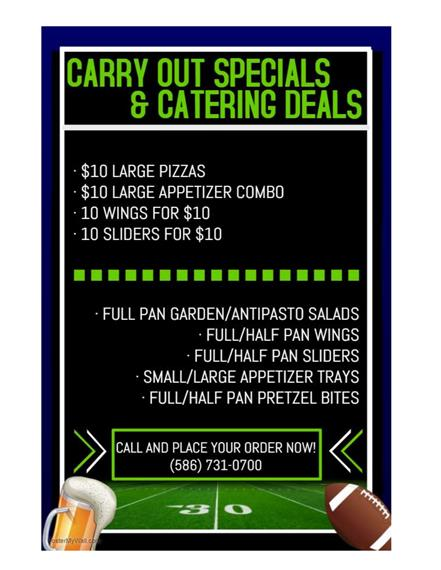 Carryout & Catering Superbowl Specials Flyer