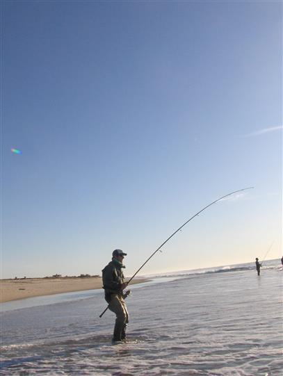 Man wading in shallow water casting out